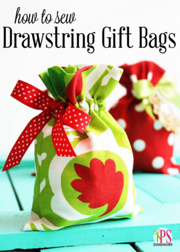Easy sewing project drawstring fabric gift bag