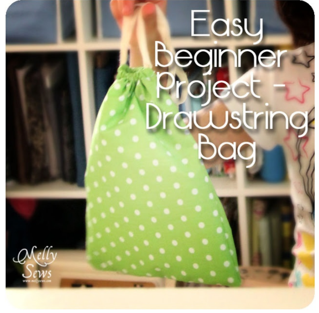 Sewing projects for beginners drawstring bags
