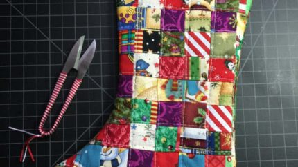 Fabric Scraps Christmas Stocking Sewing Project
