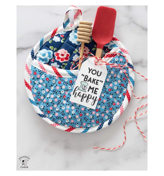 Round Quilted Pot Holder Thanksgiving Sewing Project